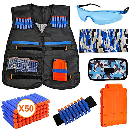 Kids Tactical Vest Kit for Nerf Guns N-Strike Elite Series Gun Wars with 50 Pcs Refill Darts, Reload Clip, Dart Pouch, Tube Mask, Wrist Band and Protective Glass, Suit for Boys Girls 5+ Year, Black