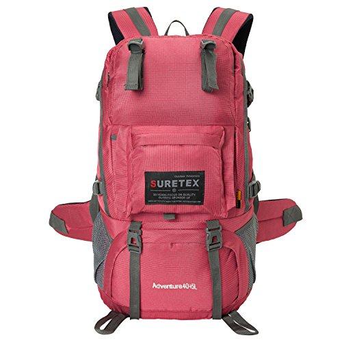 Unisexs Travel Bag Backpack Polyester Outdoor Backpack (Rose red) - 2