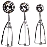 3 Pack Stainless Steel Mechanical Ice Cream Scoops by Kÿchen