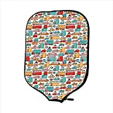 Neoprene Pickleball Paddle Racket Cover Case,Cars,Children Drawing of Many Vehicles Motorbikes Caravans Trucks Taxis Buses Print Decorative,Aqua Red Orange,Fit for Most Rackets - Protect Your Paddle