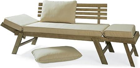 Amazon De Pureday Gartensofa Gartenliege Lilly Inklusive Sitzkissen Ausklappbare Seitenteile Holz Grau