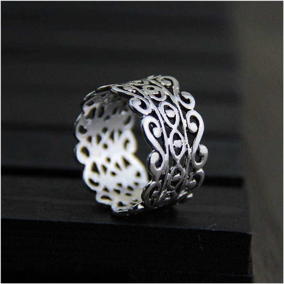 QLBF Joyería de plata esterlina simple anillo punk La manera simple amantes unisex anillos de plata esterlina S925 Índice de plata del anillo de dedo retro hueco versión amplia tailandés anillo de pla