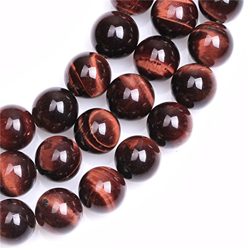 Red Tiger Eye Beads for Jewelry Making Natural Gemstone Semi Precious 12mm Round 15