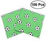 100pcs Soccer Paper Napkins World Cup Party Printing Tissue for Celebration Birthday Holiday (Green)