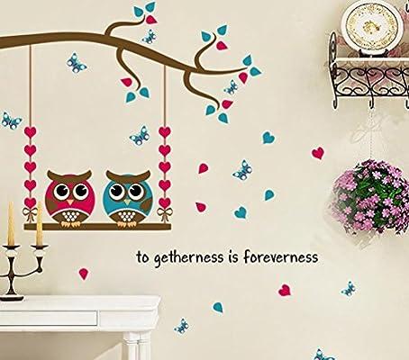 Amazoncom Bibitime Valentines Day Owls Swing Tree Branch Wall