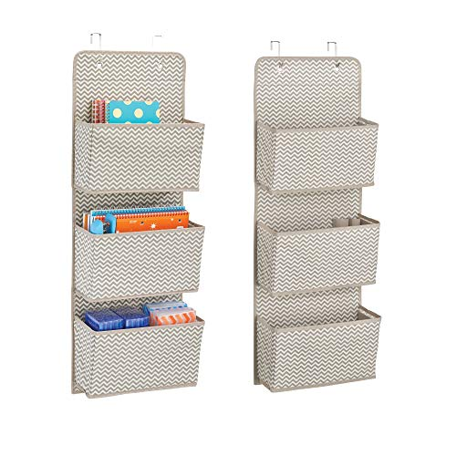 (mDesign Soft Fabric Wall Mount/Over Door Hanging Storage Organizer - 3 Large Cascading Pockets - Holds Office Supplies, Planners, File Folders, Notebooks - Chevron Zig-Zag, 2 Pack - Taupe/Natural)