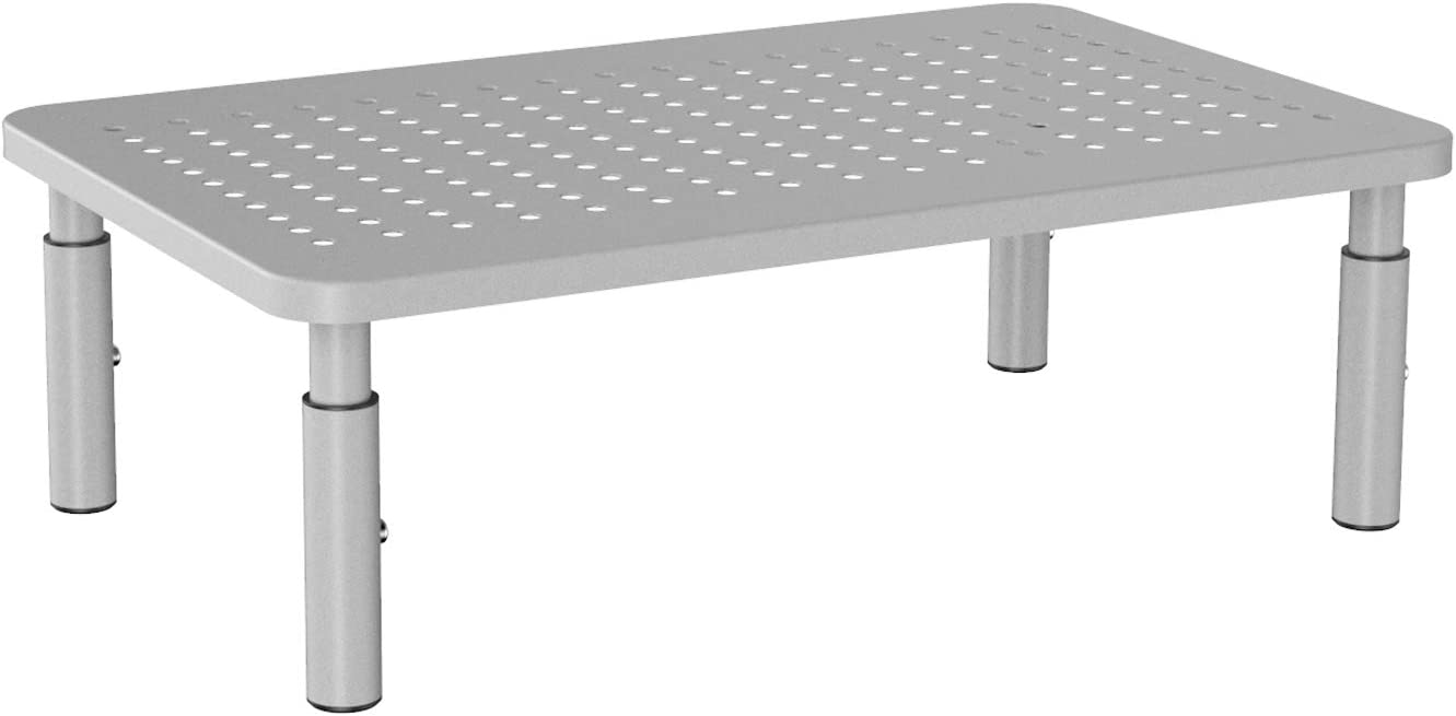 WALI Monitor Stand Riser for Computer, Laptop, Printer, Notebook and All Flat Screen Display with Vented Metal Platform and 3 Height Adjustable Underneath Storage (STT003S), Silver, 1 Pack