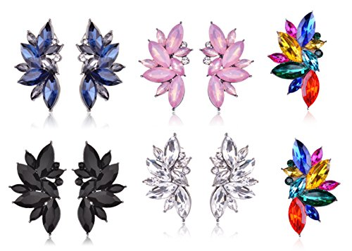 Shape Glass Cluster Crystal Teardrop Flower Design Stud Earrings (5 Color (Blue+White+Pink+Black+ Colorful)) ()