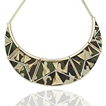 Q&Q Fashion Egyptian Gold Military Camouflage Camo Moon Pyramid Snake Chain Bib Necklace