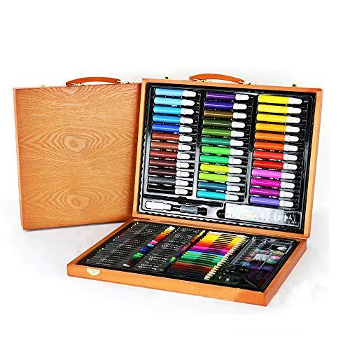 (150 Pcs Art Wooden Box Set Wooden Children Colored Pencil Oil Pastel Watercolor Pan Paints Crayons Drawing Artist Kit)
