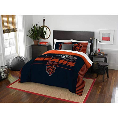 3 Piece NFL Bears Comforter Full Queen Set, Blue Orange Multi Football Themed Bedding Sports Patterned, Team Logo Fan Merchandise Athletic Team Spirit Fan, Polyester, For - Queen Comforter Nfl Bedding Football