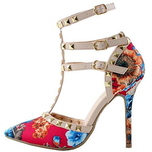 Arc-en-ciel zapatos de las mujeres de la hebilla tachonada de tacón alto de la sandalia Flower