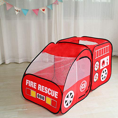 Fire Truck Kids Play Tent, Kids Room Decor Playhouse Indoor Outdoor Pop Up Play Tent Pretend Vehicle for Boys Girls
