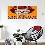 Liguo88 Custom canvas Skulls Decorations Collection Frame with Mexican Skull Girl Female Hairstyle Carnival Smily Ornate Party Image Bedroom Living Room Wall Hanging Orange Maronn