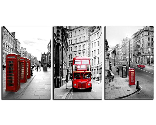 NAN Wind Modern London Wall Art Painting Red Bus on London Street Black White Wall Art Union Jack Wall Decor Paintings on Canvas Stretched Framed Ready to Hang Home Decor