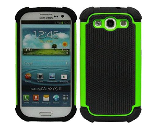 EEA Dual Layer Hard Hybrid Armor Defender Case for Galaxy S3 i9300 (Green) ()