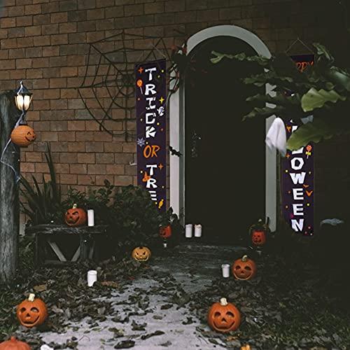 BigOtters Halloween Porch Signs, 73 Inches Halloween Door Signs Happy Halloween & Trick Or Treat for Front Door Outside Yard Halloween Party Supplies - Black