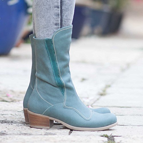 Green Women's Leather Boots by Bangi Shoes