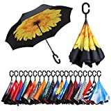 BAGAIL Double Layer Inverted Umbrellas Reverse Folding Umbrella Windproof UV Protection Big Straight Umbrella for Car Rain Outdoor with C-Shaped Handle (Sunflower)