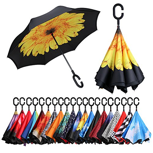 BAGAIL Double Layer Inverted Umbrellas Reverse Folding Umbrella Windproof UV Protection Big Straight Umbrella for Car Rain Outdoor with C-Shaped Handle(Sunflower)