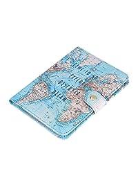 KSTEE Titular de Pasaporte Mapa del Mundo de época Impresión Linda Titular de Pasaporte de Cuero de PU ID de Portada Tarjetas de crédito Mapa de la Caja