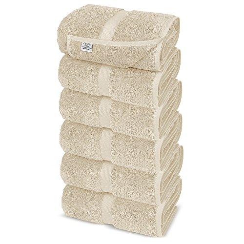 (Chakir Turkish Linens Turkish Cotton Luxury Hotel & Spa Bath Towel, Hand Towel - Set of 6, Beige)