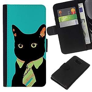 Planetar® Modelo colorido cuero carpeta tirón caso cubierta piel Holster Funda protección Para Samsung ALPHA / SM-G850 / S801 ( Business Tie Cat )