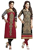 Jevi Prints Women's Unstitched Kurti Material (Pack of 2)