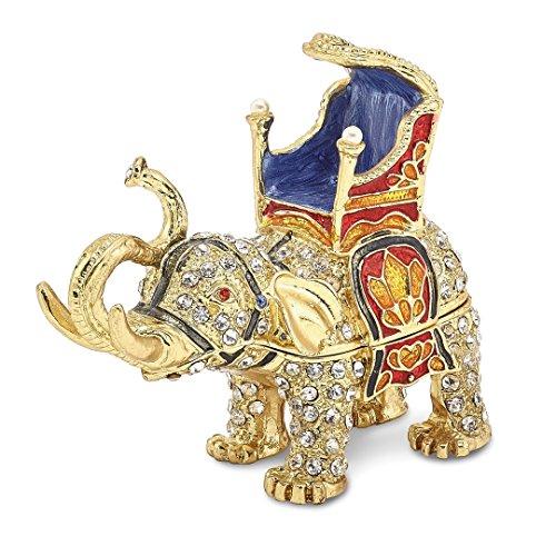 Bejeweled Majestic Elephant Trinket Box with Charm Pendant ()