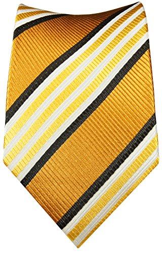 Cravate homme rayures d'or ensemble de cravate 2 Pièces ( 100% Soie Cravate + Mouchoir )