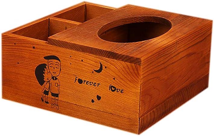 Gespout Caja de Papel Multifunción Retro de Madera Bandeja Bandeja Caja de Papel Mesa de Café Caja de Almacenamiento de Control Remoto: Amazon.es: Hogar