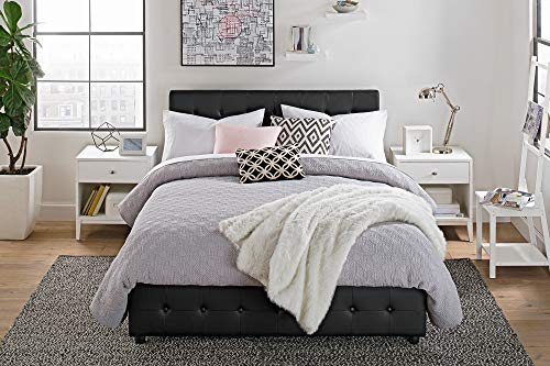 DHP Cambridge Upholstered Faux Leather Platform Bed with Wooden Slat Support and Under Bed Storage, Button Tufted Headboard Full Size - Black