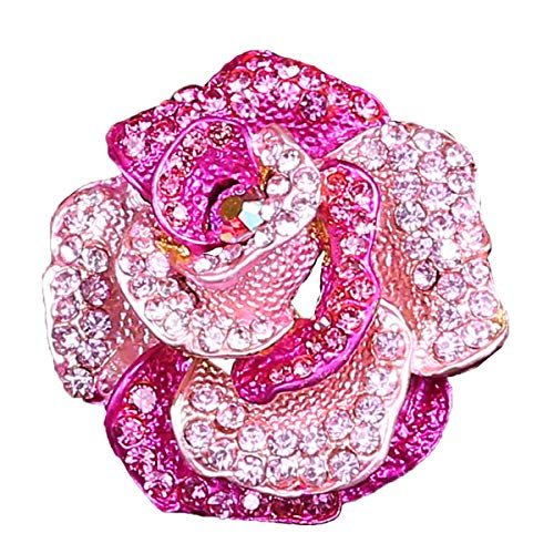 (seven wolves Crystal Rhinestones Valentine Brooch Pins Rose Brooches for DIY Wedding Bouquets, Pink)