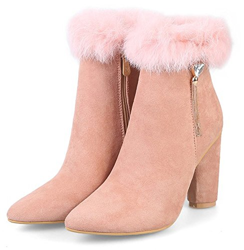 Elegant Heel Chunky Side Women's Booties High Ankle Toe Pink Dressy Zipper Aisun Pointed pg5HwqFg1