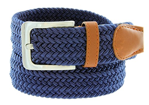Braided Elastic Fabric Woven Stretch Belt Leather Inlay (Navy, - Woven Leather Fabric