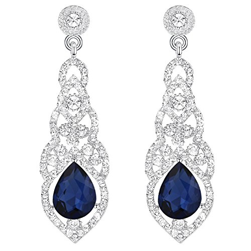 - BriLove Wedding Bridal Dangle Earrings for Women Crystal Art Deco Teardrop Hollow Chandelier Earrings Navy Blue Sapphire Color w/Clear Silver-Tone