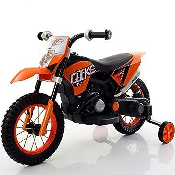 Babycar Moto eléctrica para niños naranja moto cross juguete eléctrica para niños con ruedas de goma: Amazon.es: Juguetes y juegos