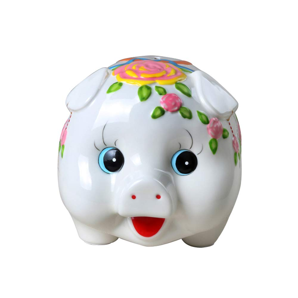 ADbank Ceramic Piggy Bank Coin Storage, Money Box Pig Gifts for Children Friends, Also Ornaments for Room Decorations,B by ADbank