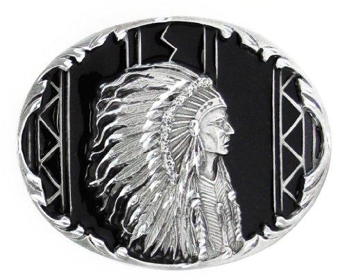 Indian Chief Diamond Cut - Pewter Belt Buckle - Indian Chief (Diamond Cut) - Native American