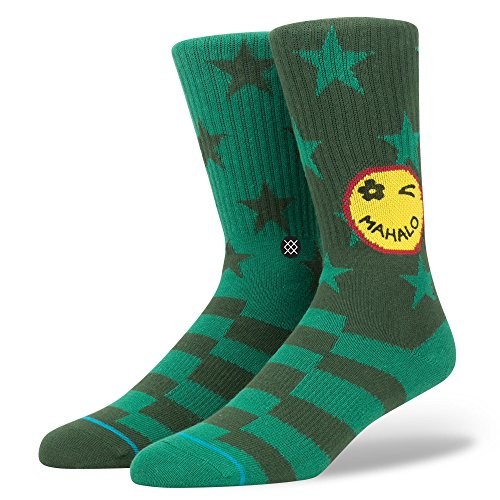 stance-mens-outlook-graphic-pattern-arch-support-classic-crew-sock-green-l
