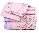 Dor Extreme Super Soft Luxury Floral Bed Sheet Set in 6 Prints, Queen, 6 Piece, Pink