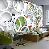 YShasaG Silk mural Custom Mural Photo Wallpaper White Ring Cycle Fruits Wall Mural Abstract Art Wall Paper Bedroom Wall Decor,275cm*252cm
