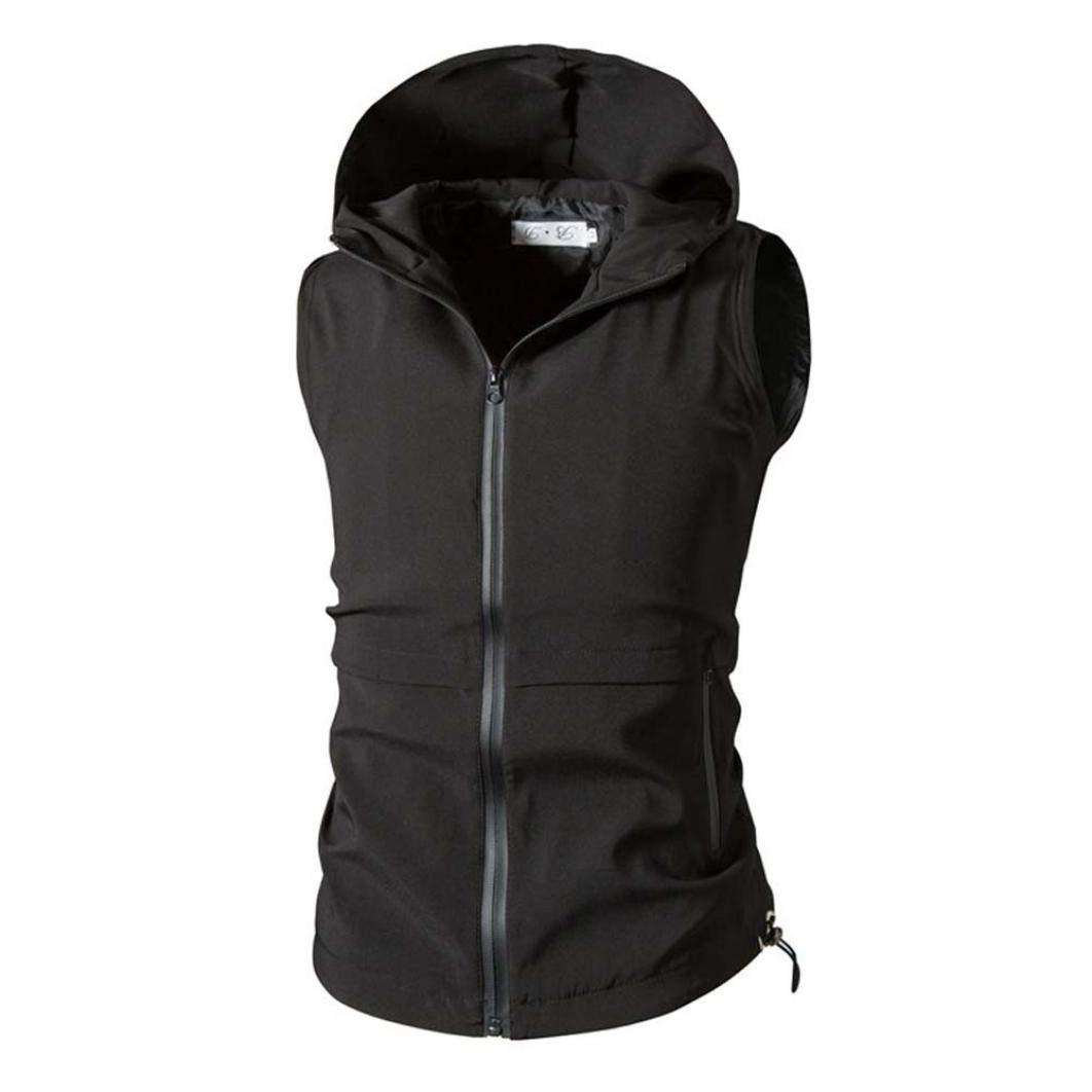 Sharemen Men Sweatshirt Hoodie Zipper Hooded Sleeveless Waistcoat