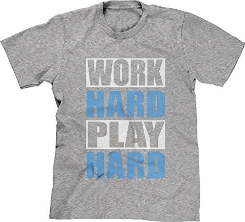 Blittzen Mens T-shirt Work Hard Play Hard-White Blue, XL, Light Gray