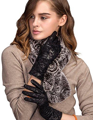 YISEVEN Women's Flower Pattern Lace Lambskin Leather Lined Gloves / Touchscreen, Black, Size 8.5