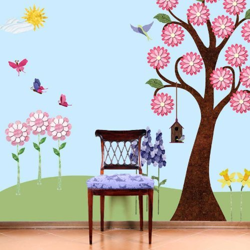 My Wonderful Walls Repositionable and Removable Flower Wall Stickers for Girls Room, Multicolored