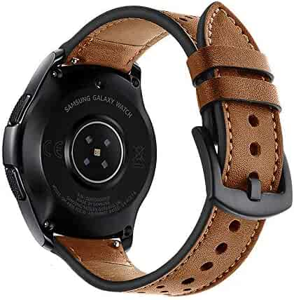 22mm Watch Band, 20mm Watch Band, OXWALLEN Leather Watch Band Quick Release Soft Strap fit for Samsung Watch 46mm,42mm, Galaxy Active, Gear S3 and Traditional Watch -Brown