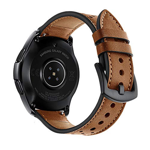 22mm Watch Band, 20mm Watch Band, OXWALLEN Leather Watch Band Quick Release Soft Strap fit for Samsung Watch 46mm,42mm, Galaxy Active, Gear S3 and Traditional Watch -Brown (Womens Fossil Leather Band Watch)
