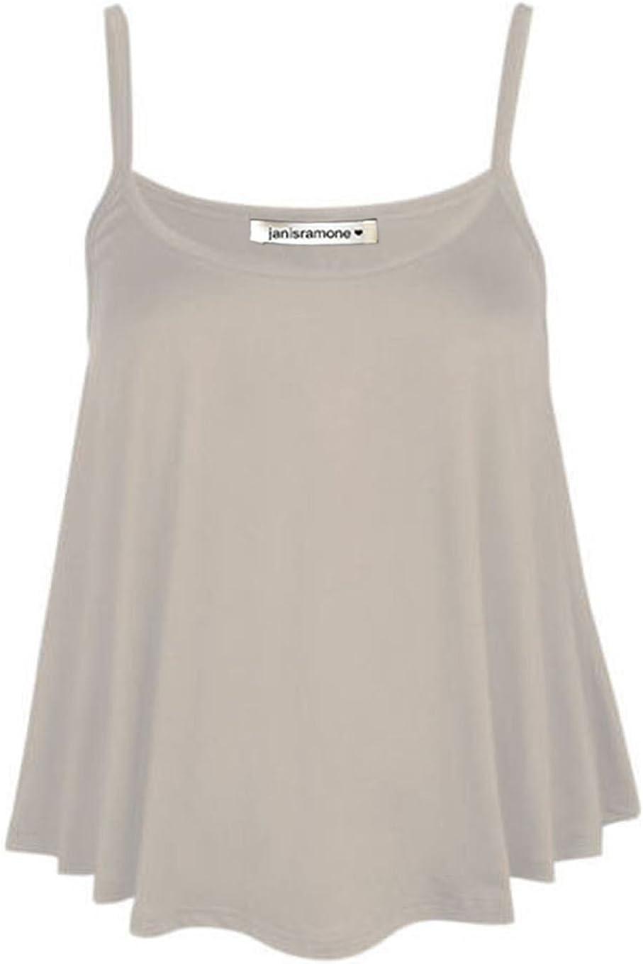 janisramone Womens Ladies New Plain Sleeveless Swing Strappy Camisole Cami Vest Plus Size Flared Mini Top
