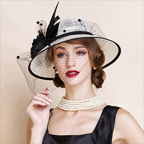 LYQZ Bowler Hat for Women Europe Elegant Noble Hat Linen Original Design Hair Accessories (Black and -